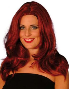 Ladies Long Wavy Superstar Fancy Dress Wig - Auburn